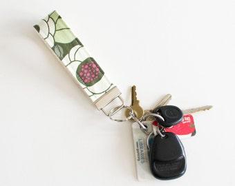 Green Ginseng Flowers Fabric Key Fob