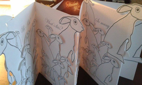 RESERVED For Over 65s Its That Time Again Happy Birthday Handmade Card in White with lots and lots and lots of Grey Hares + Pink Hare Card