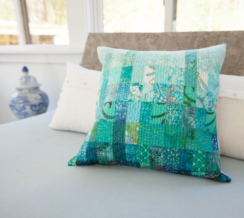 Quilted Pillow Modern Patchwork Pillow Ocean Beach Decor 20 x