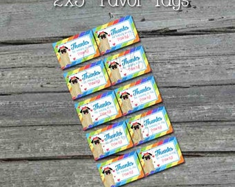 Pug Favor Tags | Digital Download | Printable Party Decorations | Rainbow cute dog | Printable DIY | INSTANT DOWNLOAD