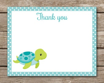 Sea Turtle Thank You Cards - Note Cards - Notecards - Boy -  Under The Sea - Beach - Tropical - INSTANT DOWNLOAD