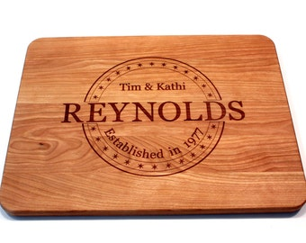 Personalized Cutting Board, Monogram Custom Wedding Gift, Anniversary Gift, Engagement Gift, Engraved Wood Chopping Block, Kitchen Decor
