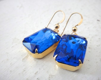 Sparkly Glam Drop Sapphire Blue Crystal Earrings in Emerald Cut Hung on Gold Fill Wires, Bridal, Wedding, Something Blue