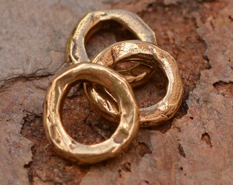 3 Closed Jump Ring Links or Big Hole Spacer for Leather in Bronze, JR-203, Bronze Jump Rings