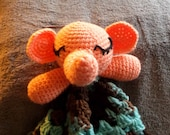 Peach Color Elephant Crochet Lovey, Teal, Light Brown, Chocolate Brown Blanket, Plush Toy