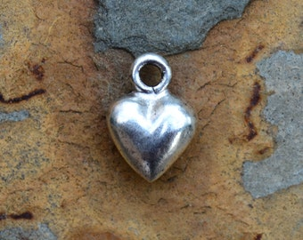 2 Antique Silver Puffed Heart Charm 12mm x 9mm Nunn Designs Low Shipping