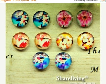 20% OFF SALE - 10pcs 12mm Mixed Handmade Photo Glass Cabochon / Wooden Cabochon  -- MCH011F