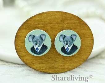 Buy 1 Get 1 Free - Koala Wooden Cabochon, Koala Wooden Button, 12mm 15mm 20mm  Round Handmade Photo Wood Cut Cabochon -- HWC038J