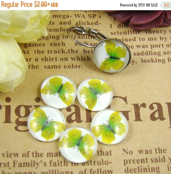 20% OFF SALE - Glass Cabochon, 8mm 10mm 12mm 14mm 16mm 20mm 25mm 30mm Round Handmade photo glass Cabochons - Butterfly Collection BCH008E