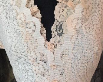 V-Neck White Lace Wedding Dress/Bride dress from vintage lace/Handmade Dress/Lace Wedding dress/Retro Lace Wedding Dress