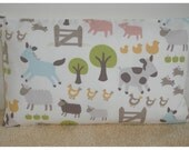 "Farmyard Pillow Cover 12x20 Nursery Farm Animals Pigs Cows Donkey Chickens Hens Ducks 20""x12"" Oblong Bolster Cushion Sham Case Pillowcase"