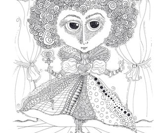 Coloring Page Instant Download The Queen Of Hearts