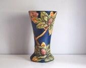 Weller Flemish Vase, Antique Art Pottery, Fine Art Ceramic Vase, 12 Inch Blue Flemish, Rhododendron Flowers, Cottage Chic, Arts Crafts Decor