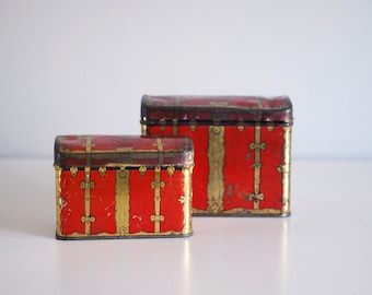 1940s Swee-Touch-Nee Tea Tins Vintage Consolidated Tea Co. Box Red Treasure Chest Kitchen Storage Container Gold Rustic Metal Russian Asian
