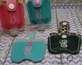Monogrammed hand sanitizer holder, includes bottle of sanitizer and key ring, keychain