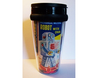 retro robot travel mug vintage 1950's tin toy outer space pin up coffee cup kitsch