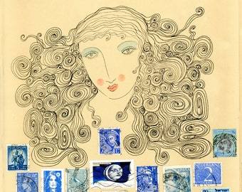 Sultry Study in Blue-stamp collage print, stamp art, blue stamps