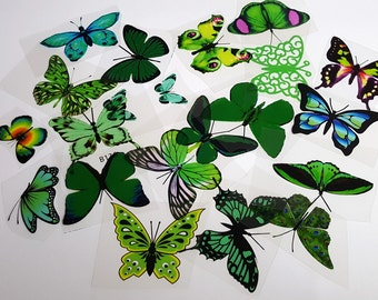 E15 Green UNCUT Butterfly pack - 20 per pack - scrapbooking, card making, crafts