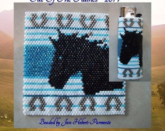 Bead PATTERN Horse Lighter Cover Peyote or Brick stitch