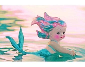 mermaid print 5 x 7 sea how cute I am