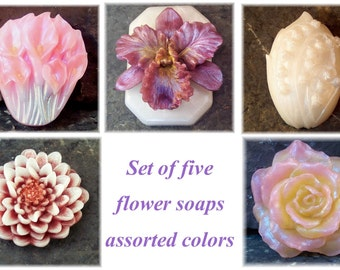 Flower Soap, Soap Gift Set, Set of 5 Assorted Flower Garden Soaps,  Fragrant Soap, Decorative Soap