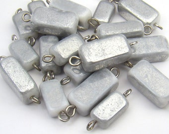 Grey glass beads, bead and wire components, rectangular links, assorted size, 20 pcs