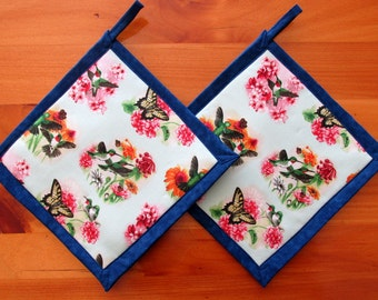 Hummingbird Potholders, Blue Potholders, Hummingbird Pot Holders, Hummingbird Kitchen Decor