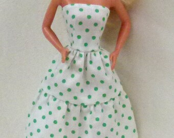White with green dots Fashion Doll dress hat and shoes for 1:6 scale dolls