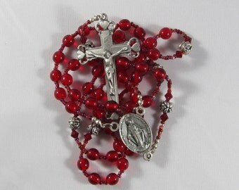 Crimson Glass Rosary  *FREE SHIPPING*
