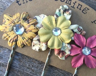 Pink and Yellow Flower Bobby Pins