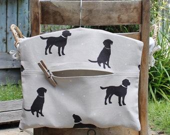 Black Labrador Clothespin Bag / Peg Bag