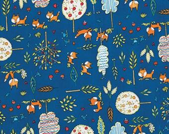 SALE 3 YARDS Quilt Cotton Fabric Kids Navy Blue Woodlands Fox Trees Woodlands Navy Fox Playground Dena Designs Free Spirit pwdf189-navy