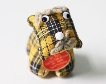 Vintage Plaid Dog Tape Measure, Pincushion