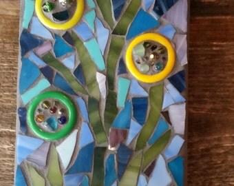 "Handmade Mixed Media Mosaic Art- ""Buzz"" - Mosaic Cup Art- Wall hanging-"