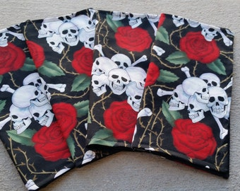 Cloth Napkins Set Of 4 SKULLS & ROSES  Black Red White Environmentally Friendly