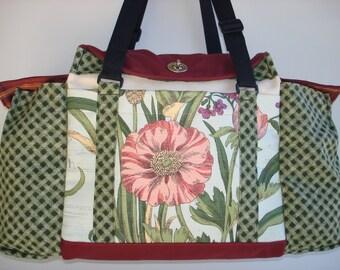 Deluxe Knitting/Crochet Tote Bag/Project Bag/Two Pocket Yarn Organizer/Handmade Knitting Bag-BARCELONA