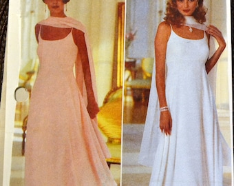Sewing Pattern Butterick 3930 Misses' Evening Dress and Stole Bust 34-38 inches  UNCUT Complete