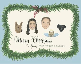 Custom Christmas Card - Custom Christmas Card Portrait - Custom Family Portrait - Custom Illustrated Portraits -  Christmas Wreath Card