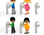 EtsyCIJ 2016 SALE Kids washing hands clipart - kids and bathroom sink clipart - wash your hands clip art digital images