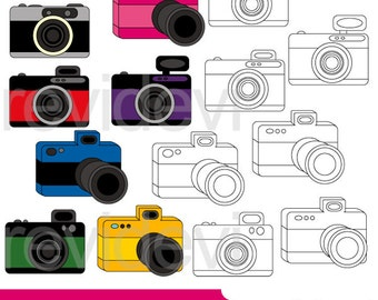 Camera clipart - Camera vibrant colors with zoom clipart - instant download - photography digital clip art