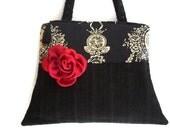 Women's Black Over the Shoulder Bag , Black Corduroy Purse , Shoulder Bag , Winter Handbag Purse , Black White Damask Print , Zipped Purse