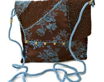 Small Crossbody Bag , Robin's Egg Blue and Brown , Messenger Cross Body Bag , Fiber Art , Floral Print , Evening Purse , Crazy Quilt Bag