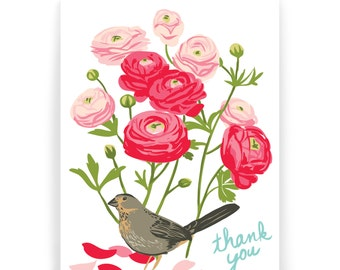 Thank You Ranunculus and Towhee - Box of 8 cards
