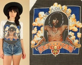 Jim Morrison T-Shirt the DOORS ViNtAgE 70's 1971 Super RARE Rock Tee Black White Raglan Sleeve Lizard King Graphic S / M Small Medium