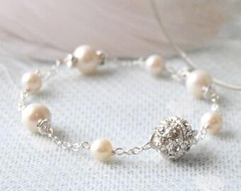 ENDLESS LOVE Vintage Inspired Pearl & Rhinestone Bracelet