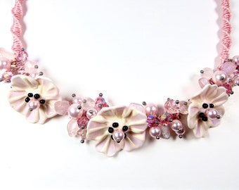 pink flower necklace flower jewelry design lamp work flowers macrame necklace statement necklace handmade flower necklace pink poppy flowers