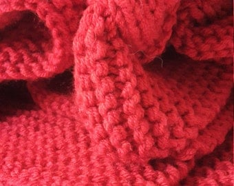 Fire Engine Red Knit Blanket