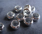 SLIDER beads large holed in solid sterling silver 4 beads   - 6mm X 3mm - 4mm hole