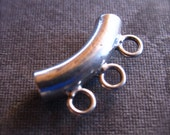 3 Drop Solid Sterling Silver Slider Pendant bead - 13mm X 7mm - 2mm hole