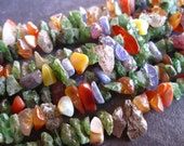 Multi Stone Chip Nuggets - 8 inches - approximately 7mm - semiprecious gemstones